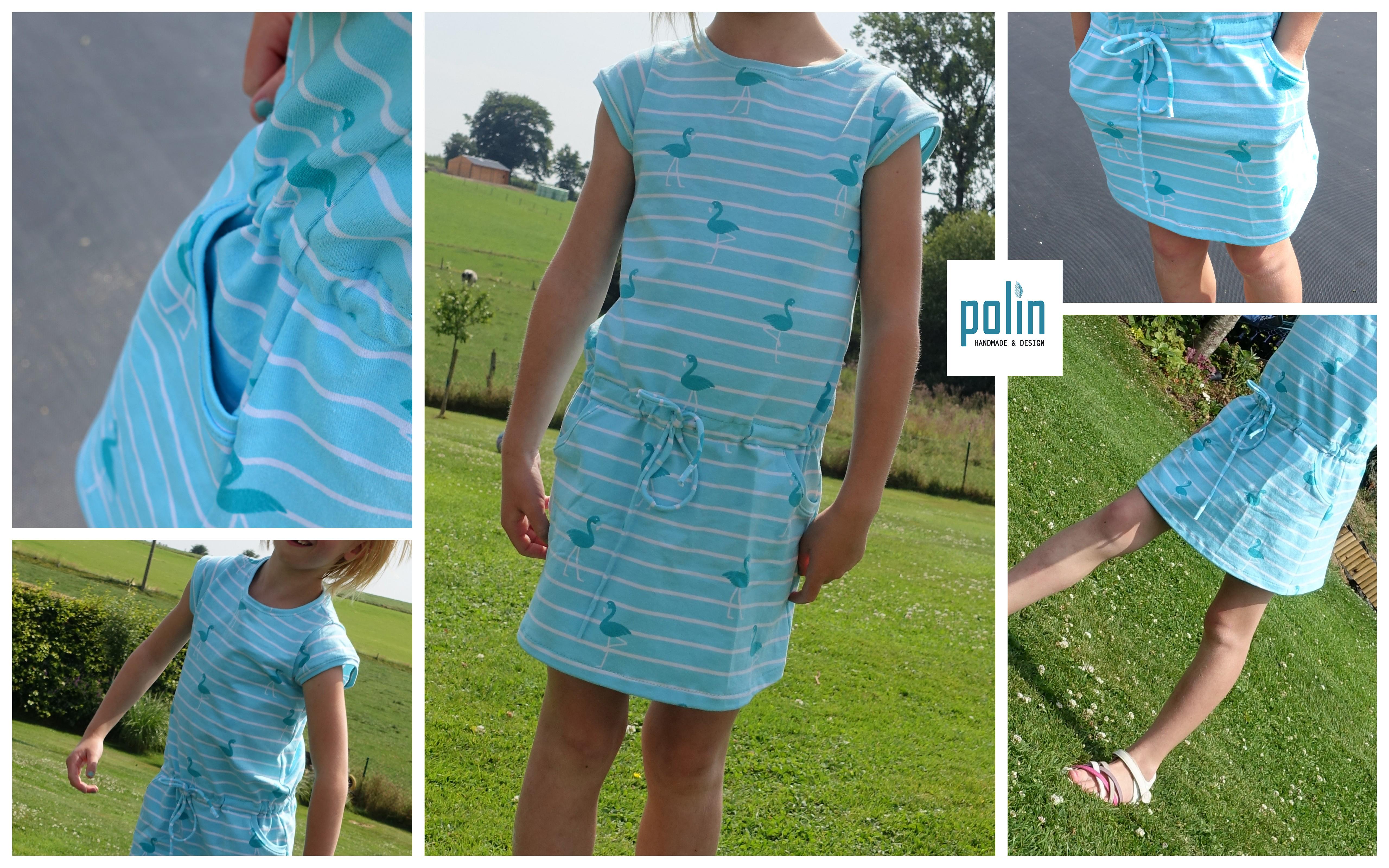Robe Flamants Turquoises Polin Handmade And Design